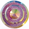 Glitz Sew-on Stone 10pcs Round 45mm Pink Aurora Borealis